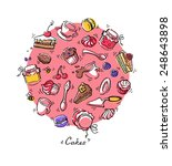 confectionery pattern. cakes ... | Shutterstock . vector #248643898