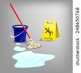 wet floor sign with drop water  ... | Shutterstock .eps vector #248650768