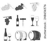 set of black and white wine... | Shutterstock .eps vector #248656576