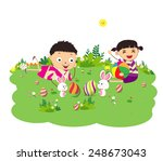 happy easter eggs with kids and ... | Shutterstock .eps vector #248673043