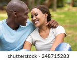happy african couple at the park | Shutterstock . vector #248715283