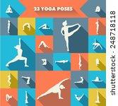 set of twenty three yoga poses... | Shutterstock .eps vector #248718118