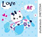 Cute Cat Pilot  Polka Dot...