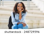 happy young african college... | Shutterstock . vector #248729596