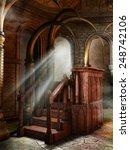 wooden lectern in a fantasy... | Shutterstock . vector #248742106