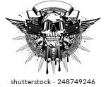 vector illustration skull in...