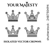 isolated ornamental crowns set. ... | Shutterstock .eps vector #248750494