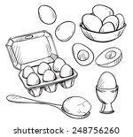 set of eggs drawings. hand...