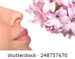 close up nose and a flower.... | Shutterstock . vector #248757670