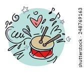 doodle drum  | Shutterstock .eps vector #248769163