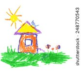 child's drawing of house. vector | Shutterstock .eps vector #248770543