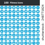 100 fitness icons  blue circle... | Shutterstock . vector #248771824