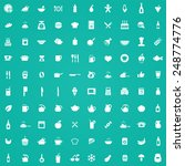 100 cooking icons  white on... | Shutterstock . vector #248774776