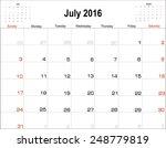 vector planning calendar  july...   Shutterstock .eps vector #248779819