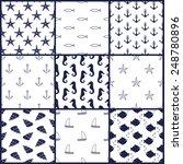 Navy Vector Seamless Patterns...