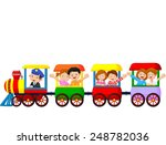 happy kids on a colorful train | Shutterstock .eps vector #248782036
