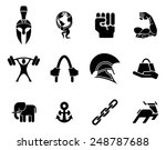 conceptual strength icon set of ...