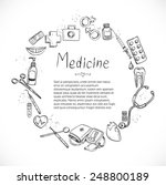 medical doodle frame background ... | Shutterstock .eps vector #248800189