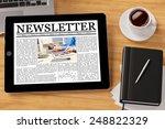 online newsletter on tablet... | Shutterstock . vector #248822329