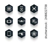drones trendy hexagonal icons...