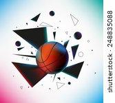 basketball ball hit the ground... | Shutterstock .eps vector #248835088