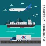 flat design of cargo... | Shutterstock .eps vector #248835913