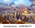 Seattle Skyline At Sunset  Wa ...