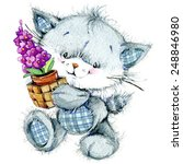 Stock photo funny kitten and flower for holiday greetings card and kids background watercolor illustration 248846980