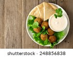 Plate Of Falafel With Pita...