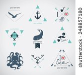 icon set  sea  whale  mustache  ... | Shutterstock .eps vector #248857180