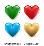 Sets Of 3d Colorful Mesh Heart...