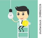 businessman change light bulb.... | Shutterstock .eps vector #248863126