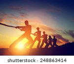 group of people  team pulling... | Shutterstock . vector #248863414