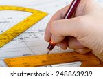 drawing architect blueprints... | Shutterstock . vector #248863939