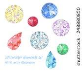 watercolor jewelry set. hand...   Shutterstock .eps vector #248880850