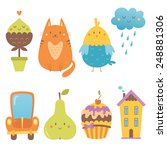 Stock vector cute icons vector set 248881306