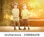 happiness boy and girl fun... | Shutterstock . vector #248886658