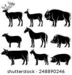 set of monochrome wild and... | Shutterstock .eps vector #248890246