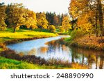 Autumn Landscape In Park With...