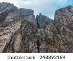 View Up A Giant Rock Face In...