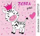 cute zebra prince vector... | Shutterstock .eps vector #248927719