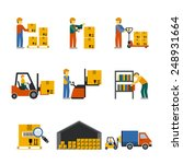 warehouse icon flat set with... | Shutterstock .eps vector #248931664