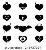 set of monochrome vector hearts ...   Shutterstock .eps vector #248937334