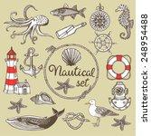hand drawn vintage nautical set.... | Shutterstock .eps vector #248954488