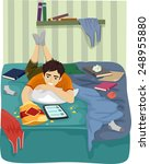 illustration of a teenage boy... | Shutterstock .eps vector #248955880
