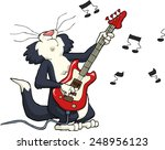cat playing on electric guitar... | Shutterstock .eps vector #248956123