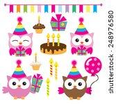 cute birthday owl vector... | Shutterstock .eps vector #248976580