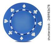 blue poker chips. isolated on... | Shutterstock .eps vector #248983678