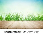 wooden platform near the green... | Shutterstock . vector #248994649