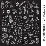 big hand drawn doodle kitchen... | Shutterstock .eps vector #249021733